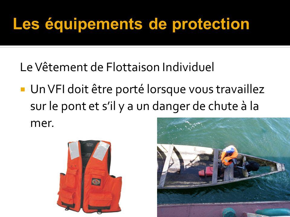 Le Vêtement de Flottaison Individuel Un VFI doit être porté lorsque vous travaillez sur le pont et sil y a un danger de chute à la mer. Les équipement