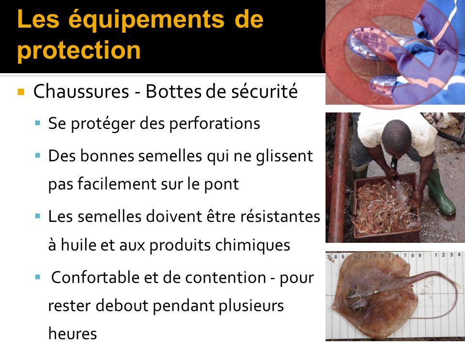 Chaussures - Bottes de sécurité Se protéger des perforations Des bonnes semelles qui ne glissent pas facilement sur le pont Les semelles doivent être