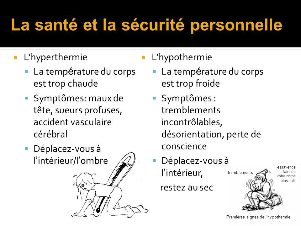 Lhypothermie La temp é rature du corps est trop froide Symptômes : tremblements incontrôlables, désorientation, perte de conscience Déplacez-vous à l