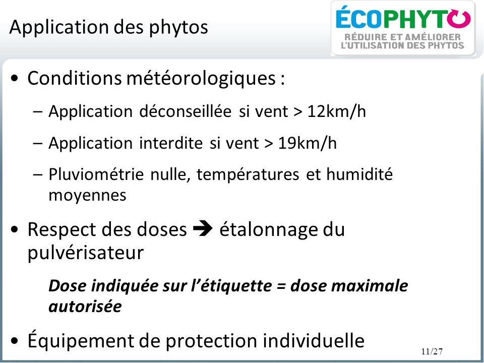 11/27 Application des phytos Conditions météorologiques : –Application déconseillée si vent > 12km/h –Application interdite si vent > 19km/h –Pluviomé