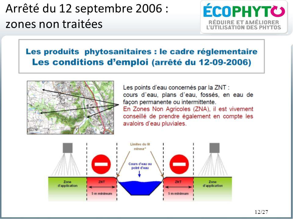 12/27 Arrêté du 12 septembre 2006 : zones non traitées