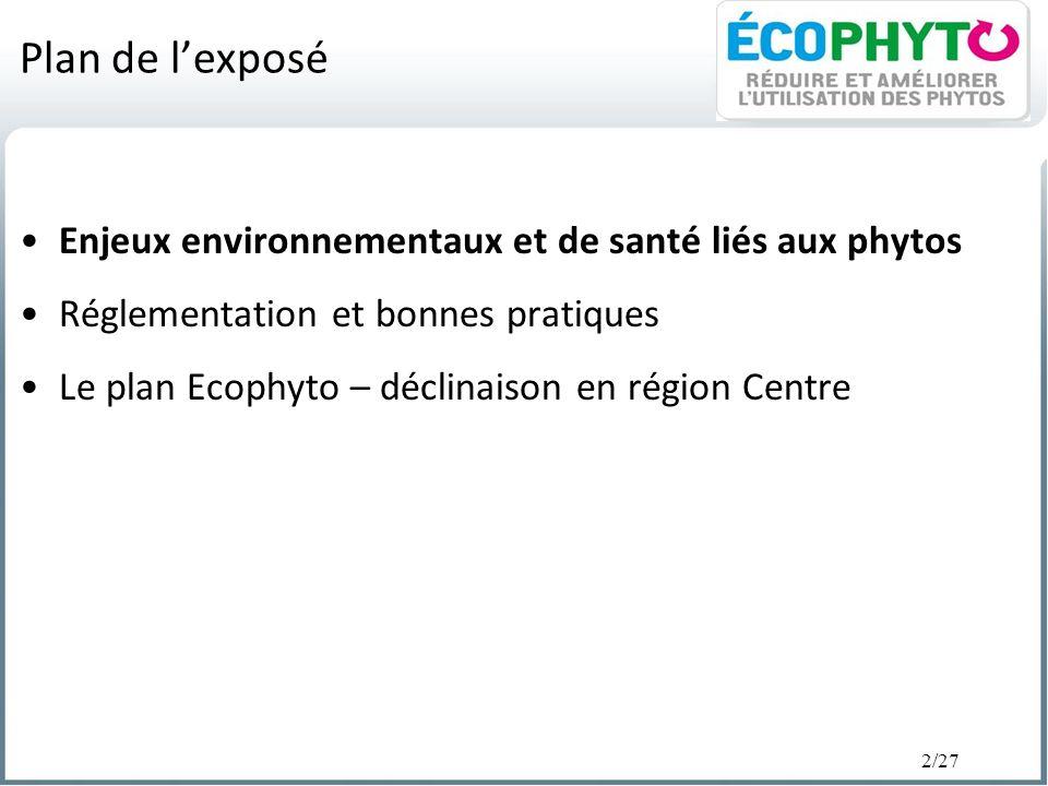 2/27 Plan de lexposé Enjeux environnementaux et de santé liés aux phytos Réglementation et bonnes pratiques Le plan Ecophyto – déclinaison en région C