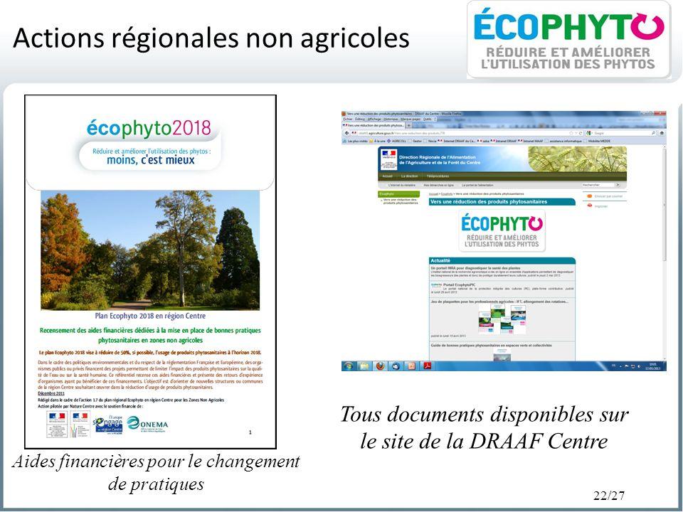 22/27 Actions régionales non agricoles Tous documents disponibles sur le site de la DRAAF Centre Aides financières pour le changement de pratiques