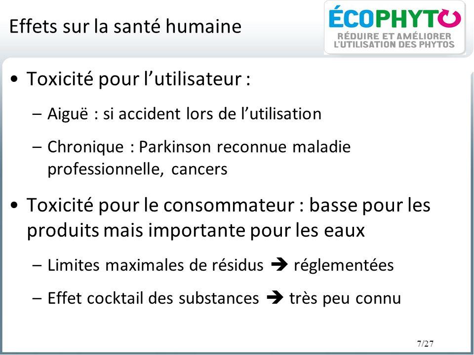 7/27 Effets sur la santé humaine Toxicité pour lutilisateur : –Aiguë : si accident lors de lutilisation –Chronique : Parkinson reconnue maladie profes