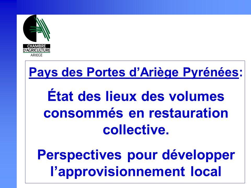 Pays des Portes dAriège Pyrénées: État des lieux des volumes consommés en restauration collective. Perspectives pour développer lapprovisionnement loc