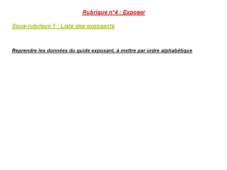 Rubrique n°4 : Exposer Sous-rubrique 1 : Liste des exposants Reprendre les données du guide exposant, à mettre par ordre alphabétique