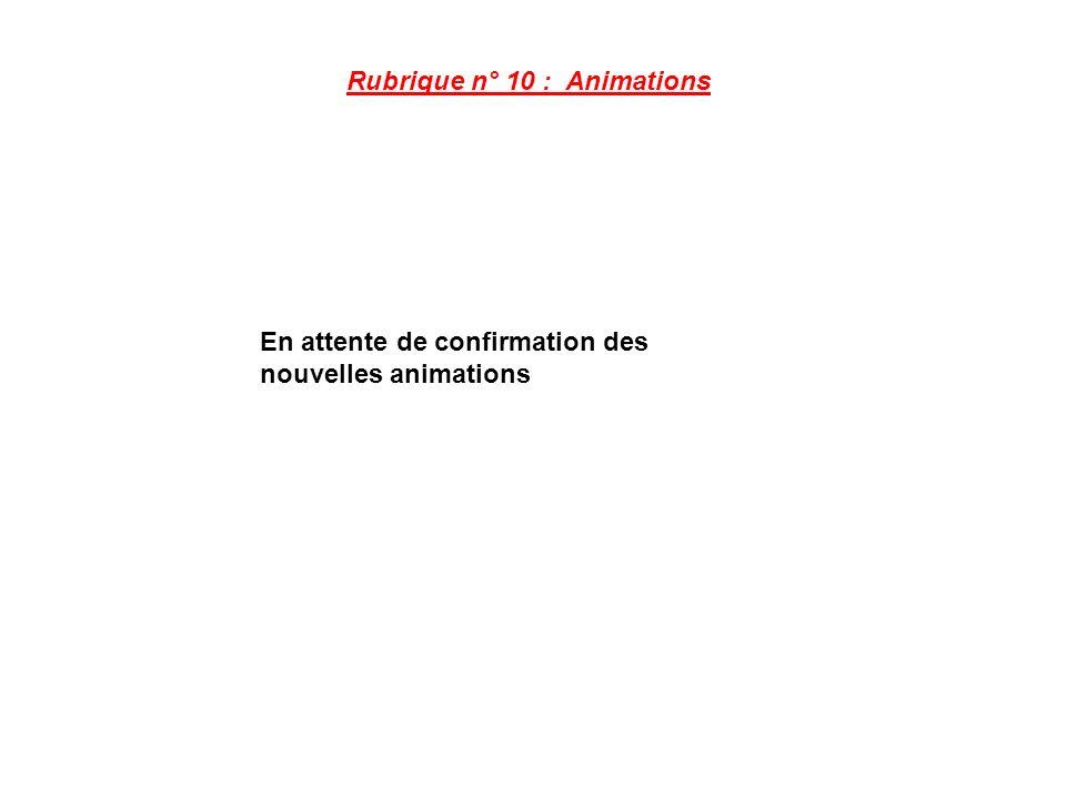 Rubrique n° 10 : Animations En attente de confirmation des nouvelles animations