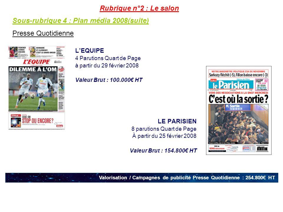 LEQUIPE 4 Parutions Quart de Page à partir du 29 février 2008 Valeur Brut : 100.000 HT LE PARISIEN 8 parutions Quart de Page À partir du 25 février 20