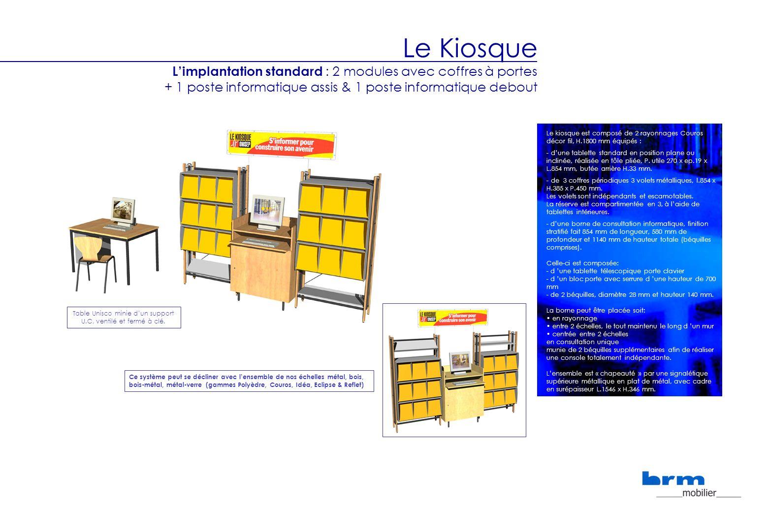 Le Kiosque Limplantation standard : 2 modules avec coffres à portes + 1 poste informatique assis & 1 poste informatique debout Le kiosque est composé