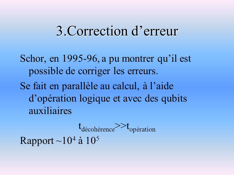 3.Correction derreur Schor, en 1995-96, a pu montrer quil est possible de corriger les erreurs. Se fait en parallèle au calcul, à laide dopération log