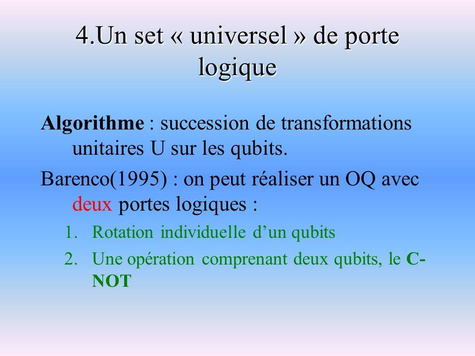 4.Un set « universel » de porte logique Algorithme : succession de transformations unitaires U sur les qubits. Barenco(1995) : on peut réaliser un OQ