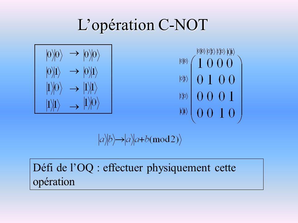 Lopération C-NOT Défi de lOQ : effectuer physiquement cette opération