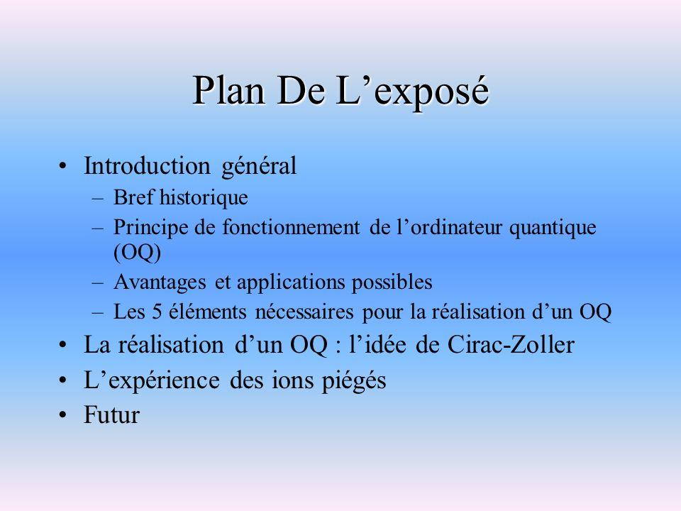 Plan De Lexposé Introduction général –Bref historique –Principe de fonctionnement de lordinateur quantique (OQ) –Avantages et applications possibles –
