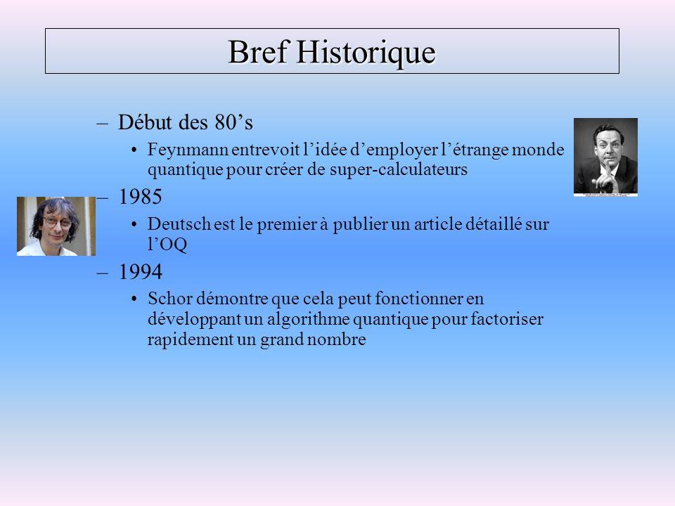Bref Historique –Début des 80s Feynmann entrevoit lidée demployer létrange monde quantique pour créer de super-calculateurs –1985 Deutsch est le premi