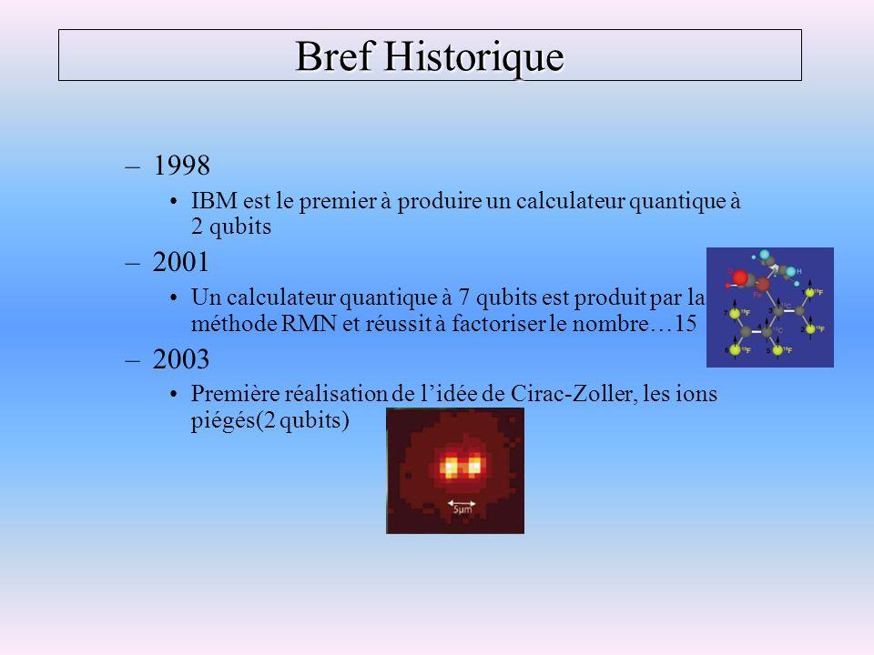 Bref Historique –1998 IBM est le premier à produire un calculateur quantique à 2 qubits –2001 Un calculateur quantique à 7 qubits est produit par la m