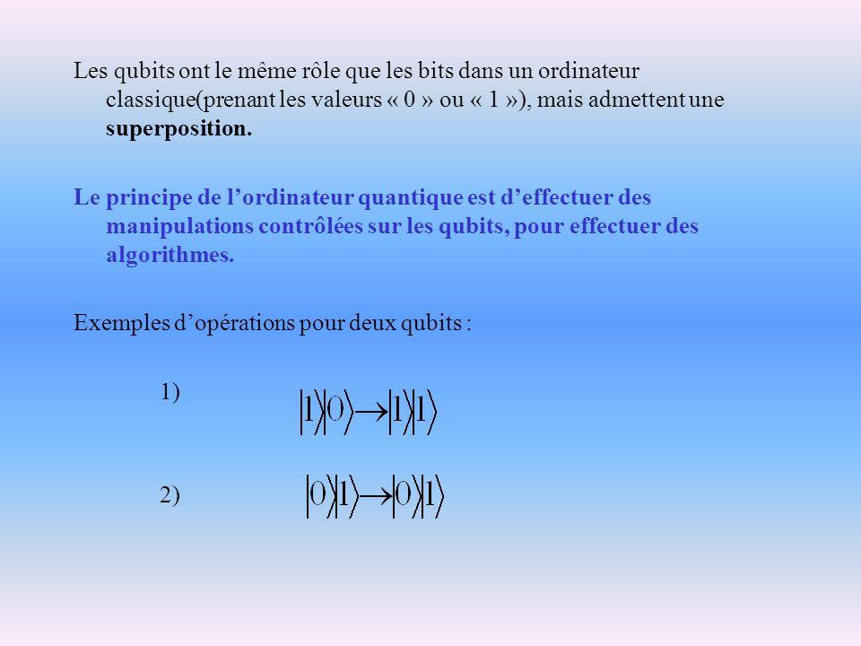 Les qubits ont le même rôle que les bits dans un ordinateur classique(prenant les valeurs « 0 » ou « 1 »), mais admettent une superposition. Le princi