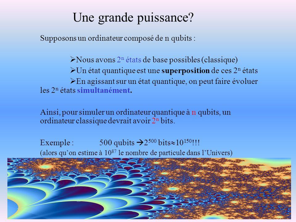 Supposons un ordinateur composé de n qubits : Nous avons 2 n états de base possibles (classique) Un état quantique est une superposition de ces 2 n ét