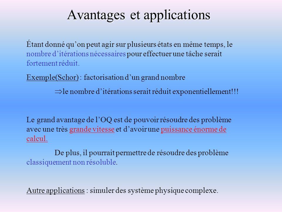 Avantages et applications Étant donné quon peut agir sur plusieurs états en même temps, le nombre ditérations nécessaires pour effectuer une tâche ser