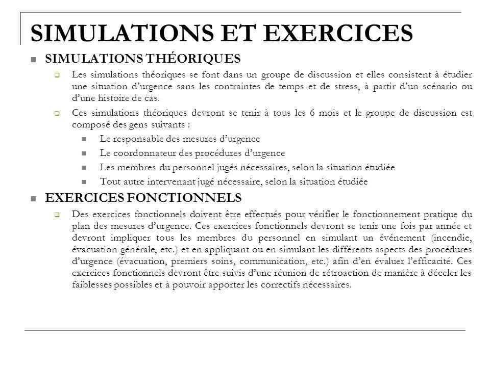 SIMULATIONS ET EXERCICES SIMULATIONS THÉORIQUES Les simulations théoriques se font dans un groupe de discussion et elles consistent à étudier une situ