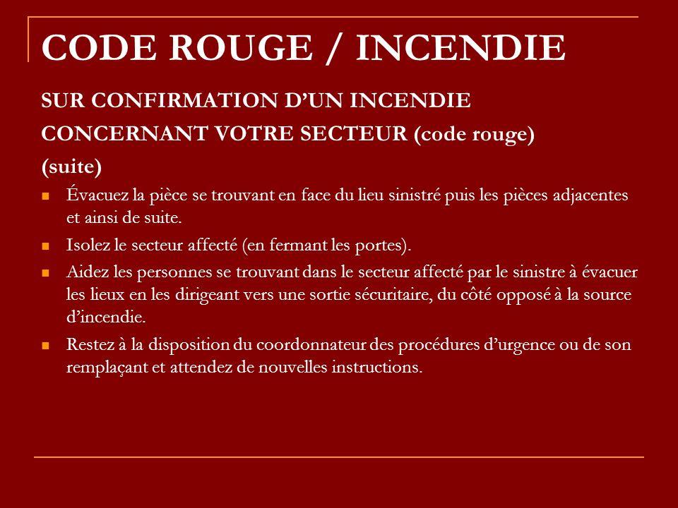 CODE ROUGE / INCENDIE SUR CONFIRMATION DUN INCENDIE CONCERNANT VOTRE SECTEUR (code rouge) (suite) Évacuez la pièce se trouvant en face du lieu sinistr