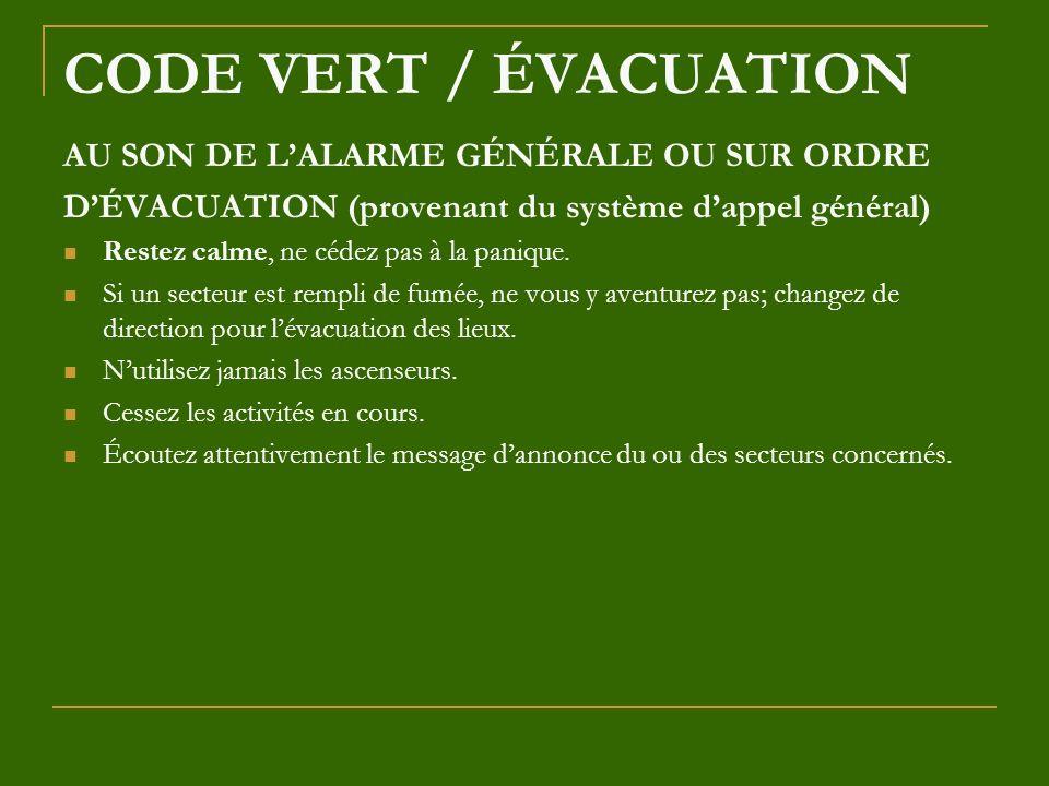 CODE VERT / ÉVACUATION AU SON DE LALARME GÉNÉRALE OU SUR ORDRE DÉVACUATION (provenant du système dappel général) Restez calme, ne cédez pas à la paniq