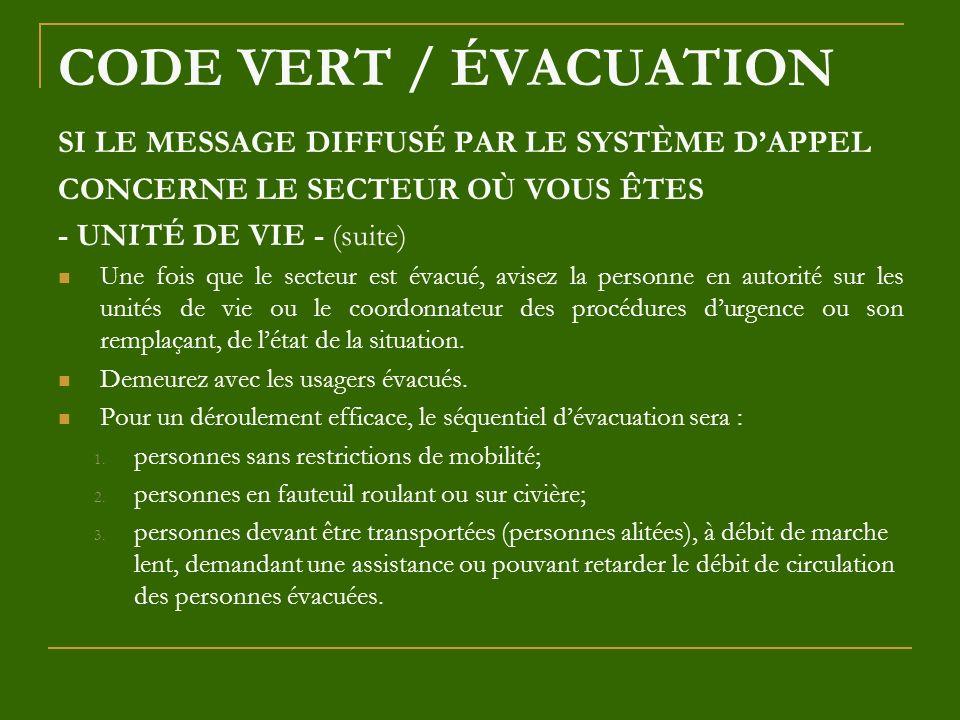 CODE VERT / ÉVACUATION SI LE MESSAGE DIFFUSÉ PAR LE SYSTÈME DAPPEL CONCERNE LE SECTEUR OÙ VOUS ÊTES - UNITÉ DE VIE - (suite) Une fois que le secteur e