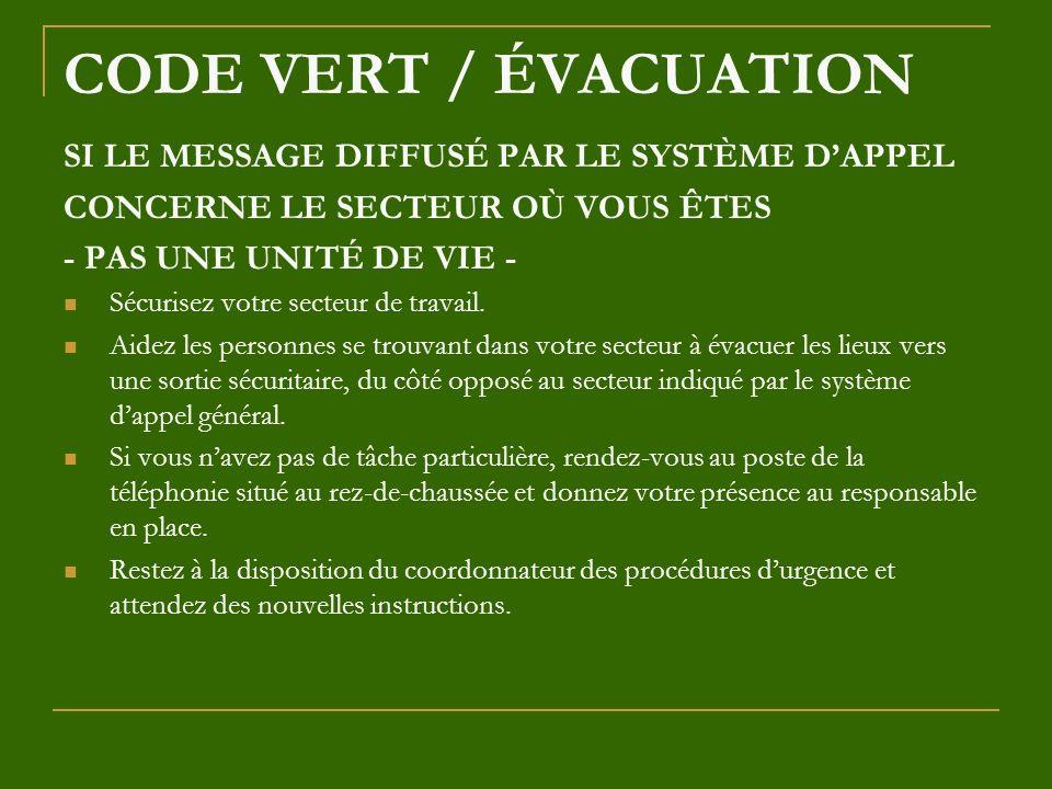 CODE VERT / ÉVACUATION SI LE MESSAGE DIFFUSÉ PAR LE SYSTÈME DAPPEL CONCERNE LE SECTEUR OÙ VOUS ÊTES - PAS UNE UNITÉ DE VIE - Sécurisez votre secteur d