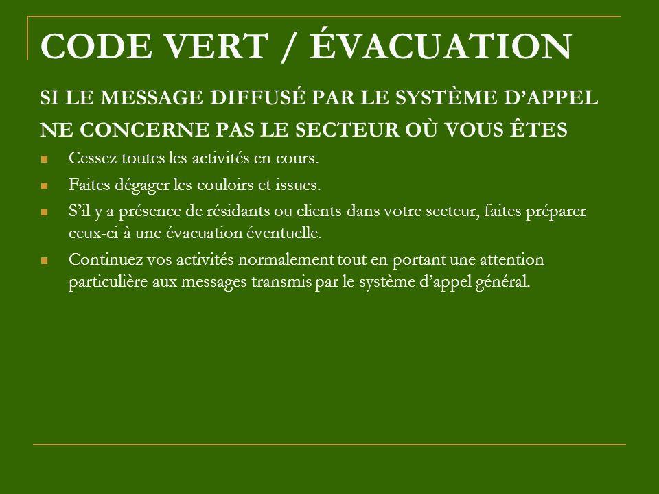 CODE VERT / ÉVACUATION SI LE MESSAGE DIFFUSÉ PAR LE SYSTÈME DAPPEL NE CONCERNE PAS LE SECTEUR OÙ VOUS ÊTES Cessez toutes les activités en cours. Faite