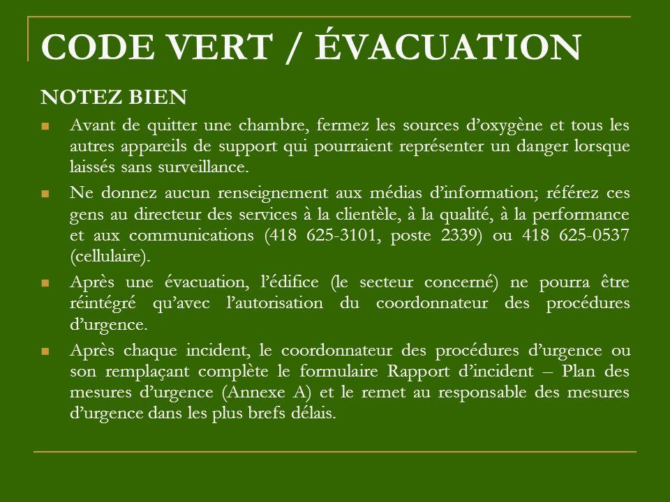 CODE VERT / ÉVACUATION NOTEZ BIEN Avant de quitter une chambre, fermez les sources doxygène et tous les autres appareils de support qui pourraient rep