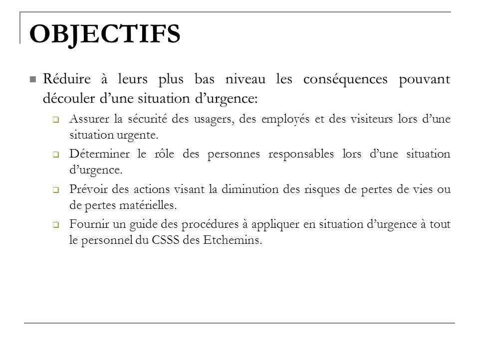 OBJECTIFS Réduire à leurs plus bas niveau les conséquences pouvant découler dune situation durgence: Assurer la sécurité des usagers, des employés et