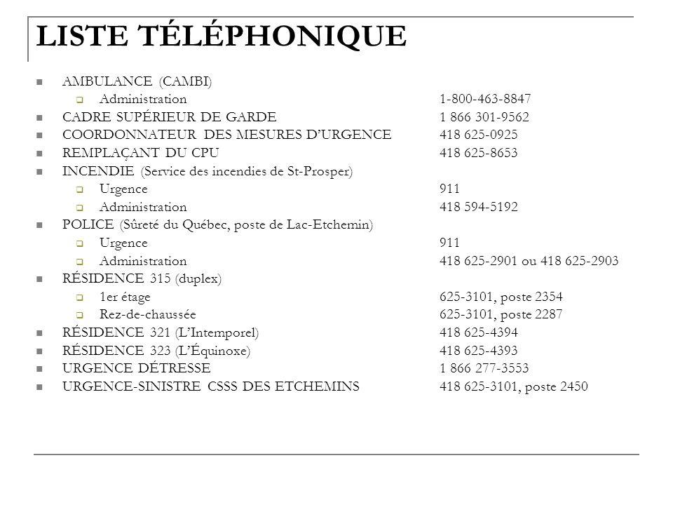 LISTE TÉLÉPHONIQUE AMBULANCE (CAMBI) Administration1-800-463-8847 CADRE SUPÉRIEUR DE GARDE1 866 301-9562 COORDONNATEUR DES MESURES DURGENCE418 625-092