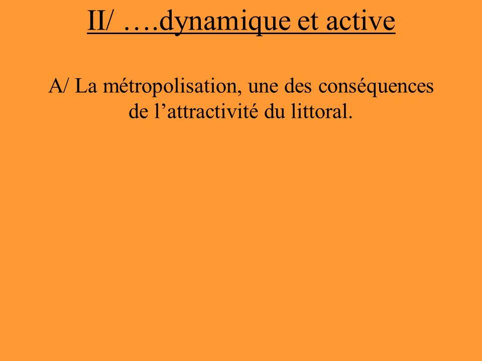 II/ ….dynamique et active A/ La métropolisation, une des conséquences de lattractivité du littoral.
