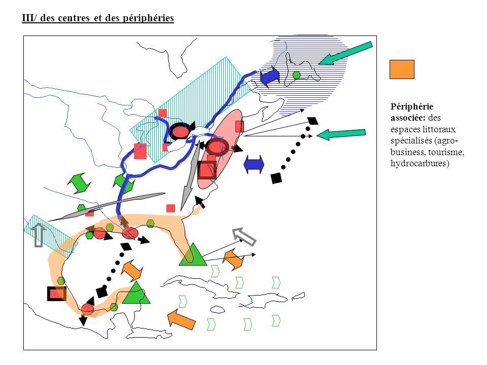Périphérie associée: des espaces littoraux spécialisés (agro- business, tourisme, hydrocarbures) III/ des centres et des périphéries