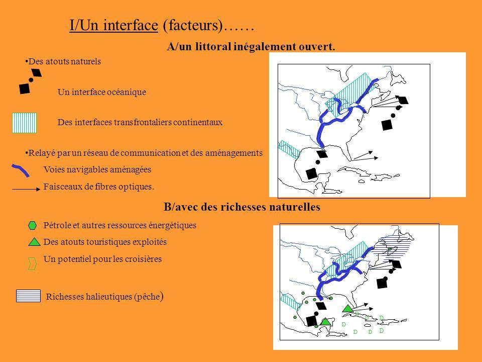 I/Un interface (facteurs)…… A/un littoral inégalement ouvert. Des atouts naturels Un interface océanique Des interfaces transfrontaliers continentaux