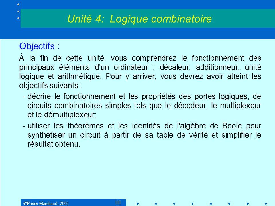 ©Pierre Marchand, 2001 122 5.2 Circuits logiques 5.2.3Fonctions de deux variables Fonction OU (OR) Table de vérité aba+b 000 011 101 111 Unité 4: Logique combinatoire OU abab a+b 0100111101001111 a b