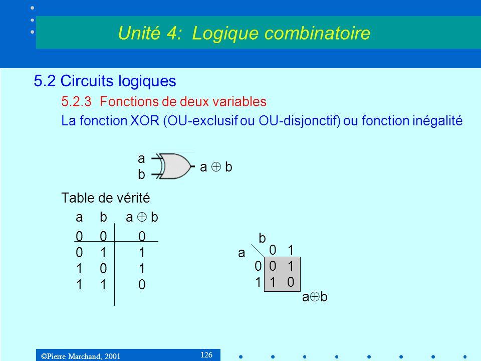 ©Pierre Marchand, 2001 126 5.2 Circuits logiques 5.2.3Fonctions de deux variables La fonction XOR (OU-exclusif ou OU-disjonctif) ou fonction inégalité