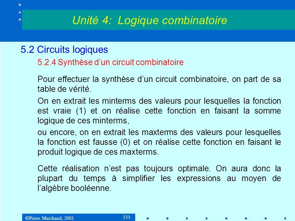 ©Pierre Marchand, 2001 133 5.2 Circuits logiques 5.2.4 Synthèse dun circuit combinatoire Pour effectuer la synthèse dun circuit combinatoire, on part