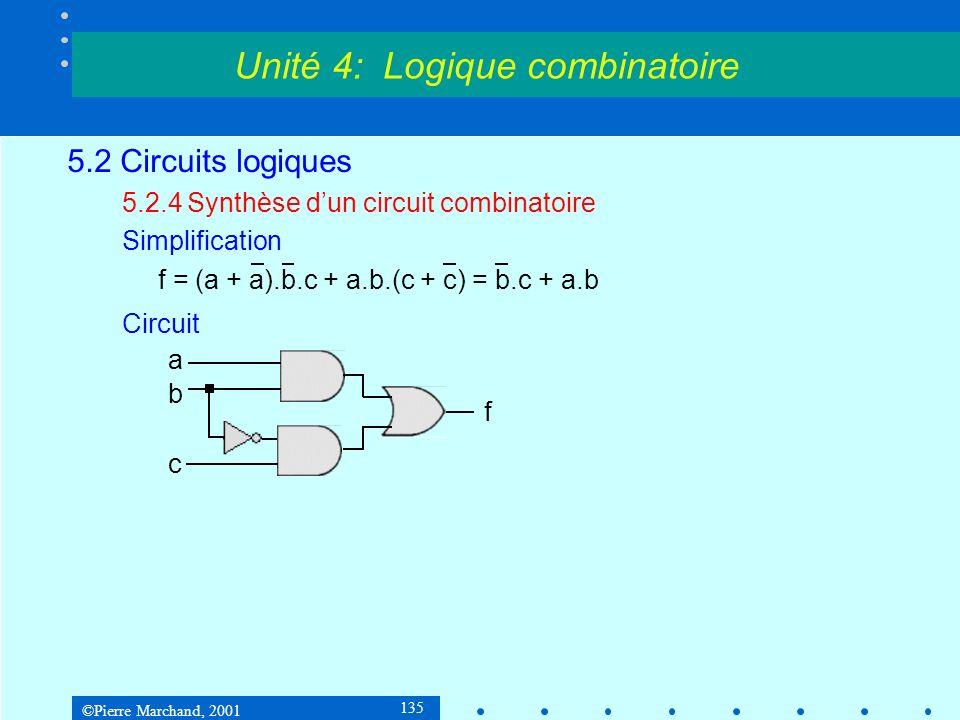 ©Pierre Marchand, 2001 135 5.2 Circuits logiques 5.2.4Synthèse dun circuit combinatoire Simplification f = (a + a).b.c + a.b.(c + c) = b.c + a.b Circu