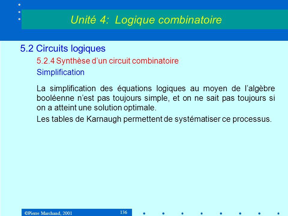 ©Pierre Marchand, 2001 136 5.2 Circuits logiques 5.2.4Synthèse dun circuit combinatoire Simplification La simplification des équations logiques au moy