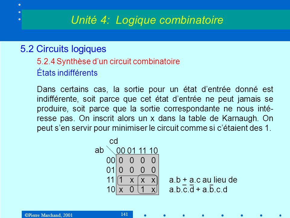 ©Pierre Marchand, 2001 141 5.2 Circuits logiques 5.2.4Synthèse dun circuit combinatoire États indifférents Dans certains cas, la sortie pour un état d