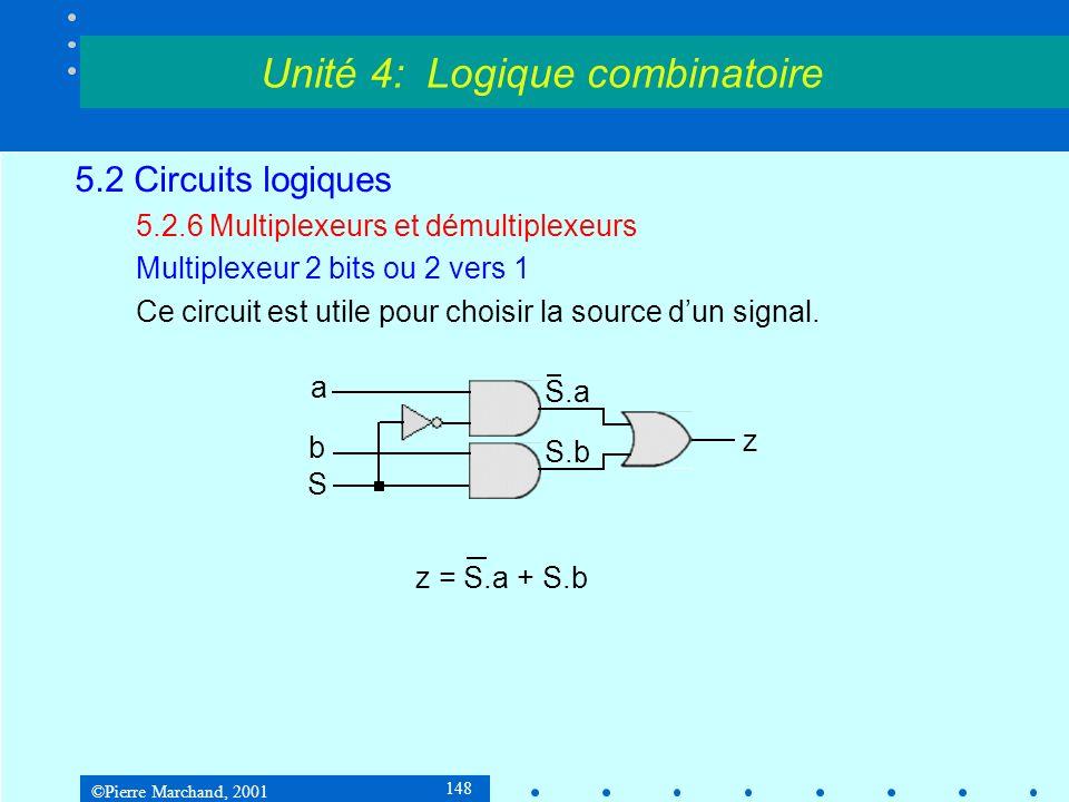 ©Pierre Marchand, 2001 148 5.2 Circuits logiques 5.2.6 Multiplexeurs et démultiplexeurs Multiplexeur 2 bits ou 2 vers 1 Ce circuit est utile pour choi
