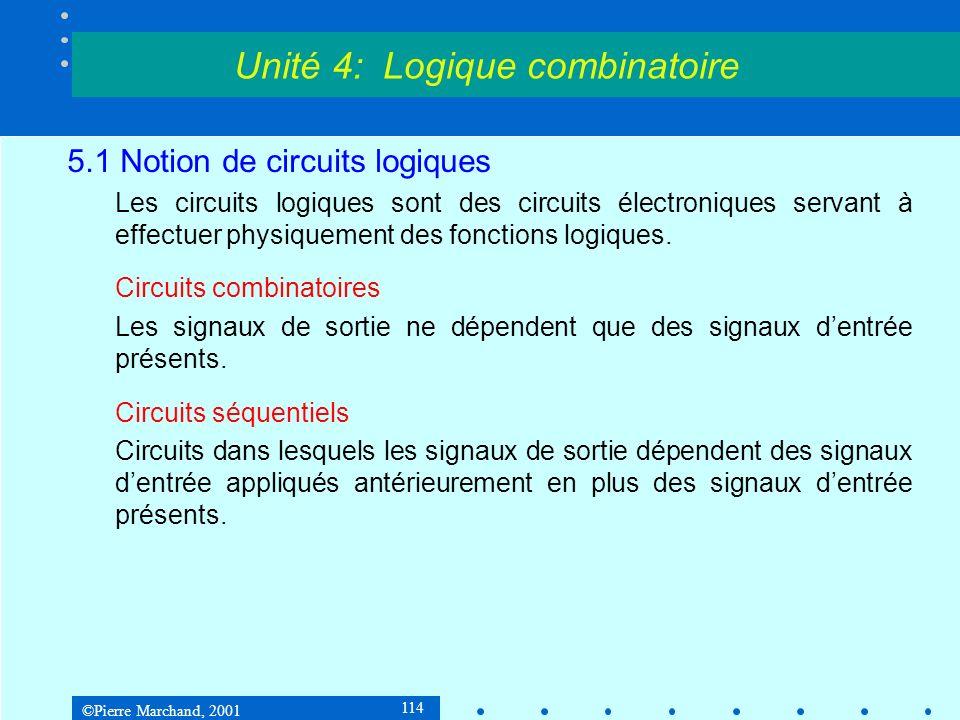 ©Pierre Marchand, 2001 114 5.1 Notion de circuits logiques Les circuits logiques sont des circuits électroniques servant à effectuer physiquement des