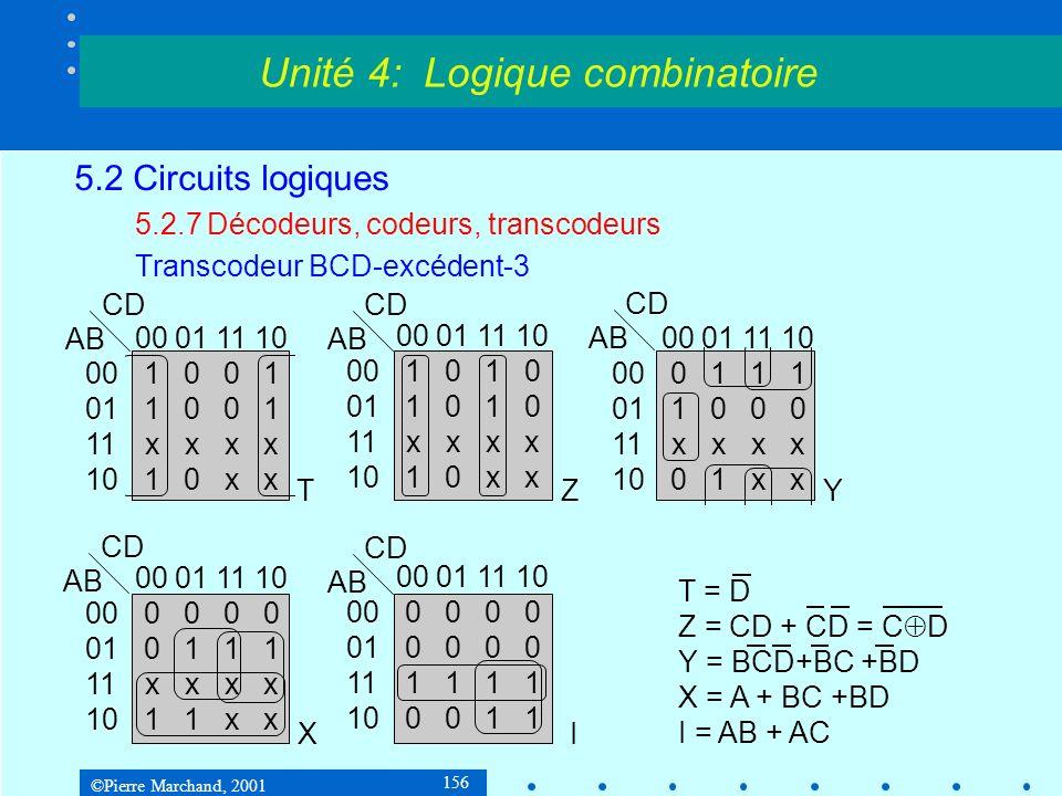 ©Pierre Marchand, 2001 156 5.2 Circuits logiques 5.2.7Décodeurs, codeurs, transcodeurs Transcodeur BCD-excédent-3 Unité 4: Logique combinatoire 000111