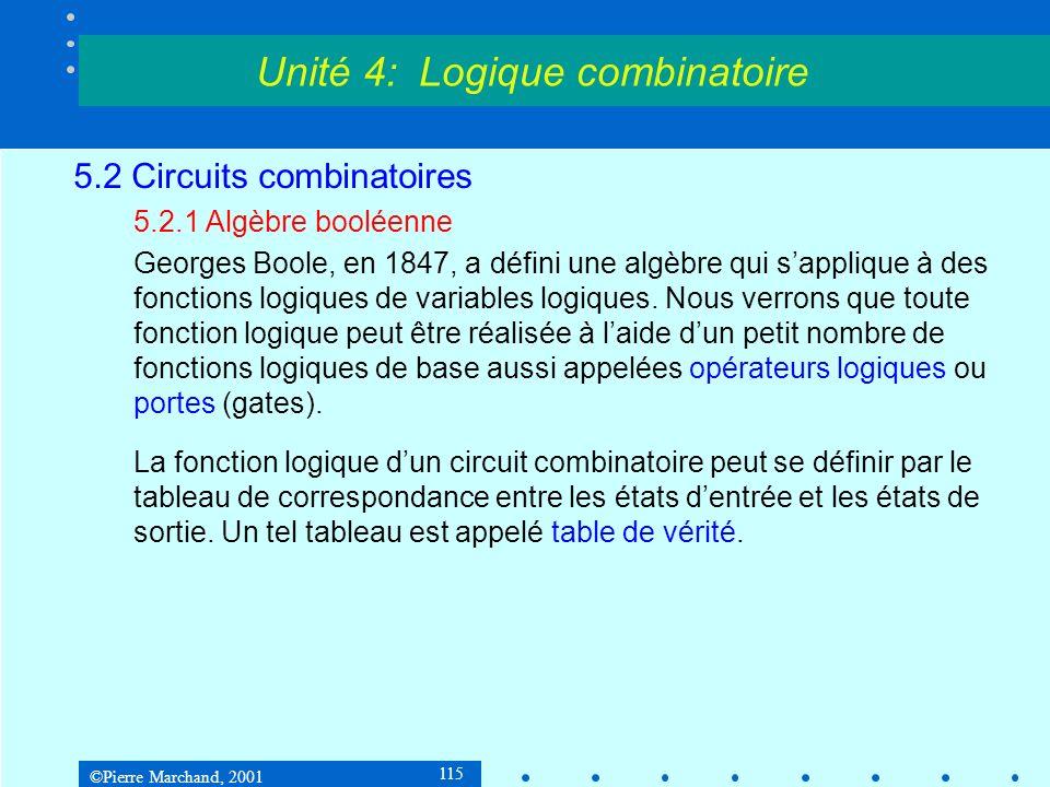 ©Pierre Marchand, 2001 136 5.2 Circuits logiques 5.2.4Synthèse dun circuit combinatoire Simplification La simplification des équations logiques au moyen de lalgèbre booléenne nest pas toujours simple, et on ne sait pas toujours si on a atteint une solution optimale.