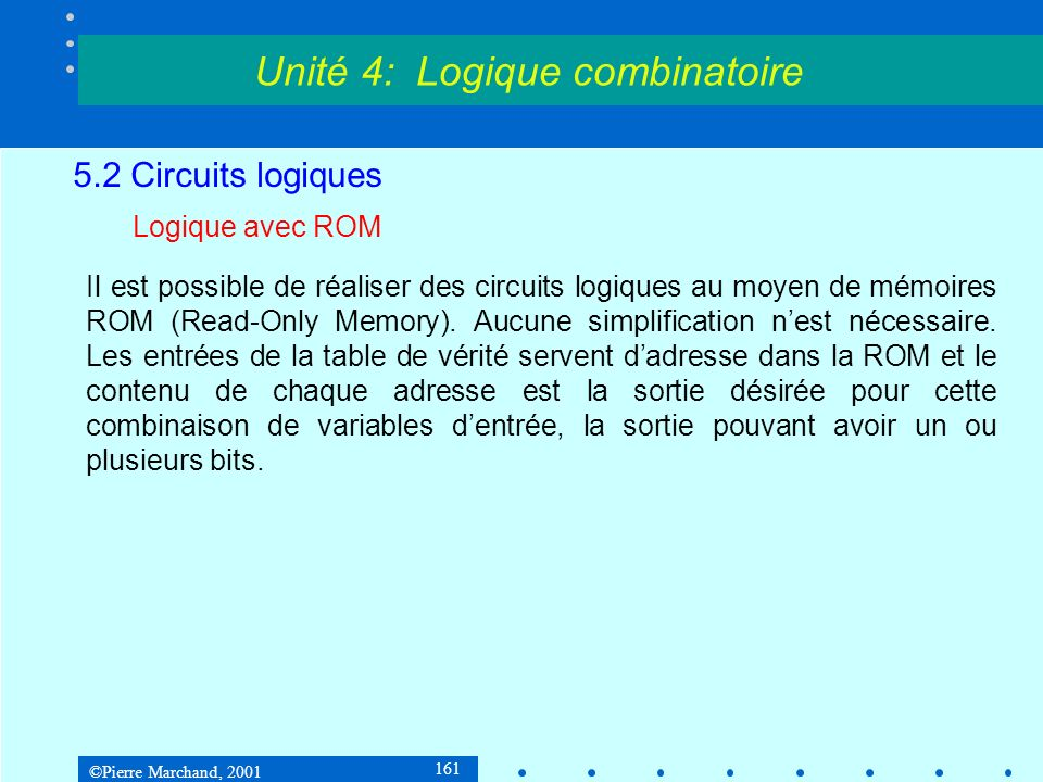 ©Pierre Marchand, 2001 161 5.2 Circuits logiques Logique avec ROM Il est possible de réaliser des circuits logiques au moyen de mémoires ROM (Read-Onl