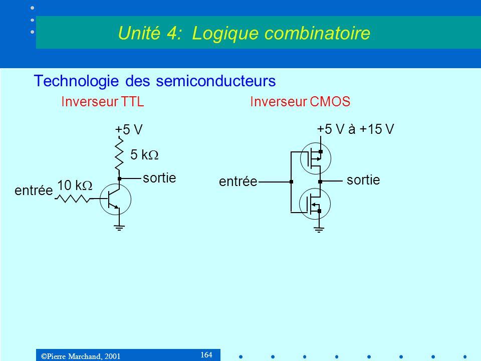 ©Pierre Marchand, 2001 164 Technologie des semiconducteurs Inverseur TTLInverseur CMOS Unité 4: Logique combinatoire +5 V 5 k 10 k entrée sortie +5 V
