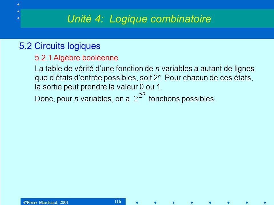 ©Pierre Marchand, 2001 137 5.2 Circuits logiques 5.2.4Synthèse dun circuit combinatoire Tables de Karnaugh abcf 0000 0011 0100 0111 1000 1010 1101 1111Donc f = a.b + a.c Unité 4: Logique combinatoire 00 0 1 01 0 1 11 1 1 10 0 0 ab c 0 1 a.b a.c