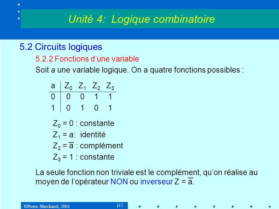 ©Pierre Marchand, 2001 118 5.2 Circuits logiques 5.2.2 Fonctions dune variable Lopérateur NON ou inverseur Table de vérité :a 01 10 Unité 4: Logique combinatoire aa