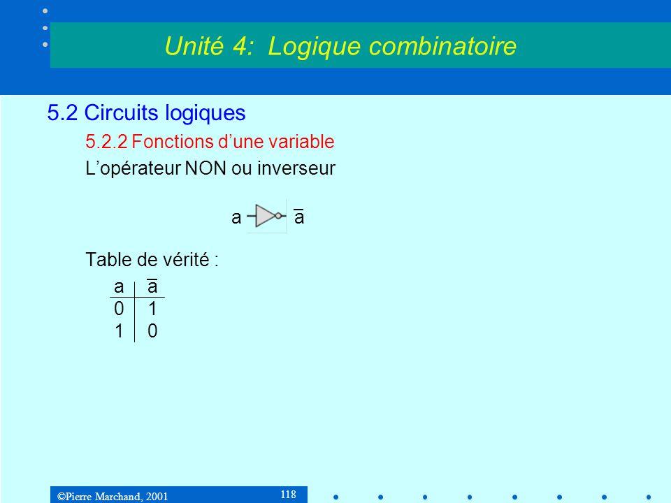©Pierre Marchand, 2001 119 5.2 Circuits logiques 5.2.3 Fonctions de deux variables Il y a 16 fonctions possibles de deux variables 00011011ab 0000F 0 = 0Constante 0 0001F 1 = a.bFonction ET 0010F 2 = a.b 0011F 3 = a 0100F 4 = a.b 0101F 5 = b 0110F 6 = a bFonction XOR 0111F 7 = a+bFonction OU Unité 4: Logique combinatoire