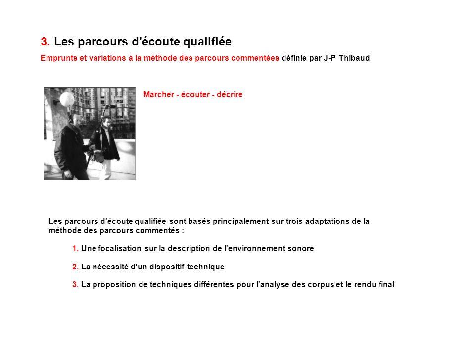 3. Les parcours d'écoute qualifiée Emprunts et variations à la méthode des parcours commentées définie par J-P Thibaud Marcher - écouter - décrire Les